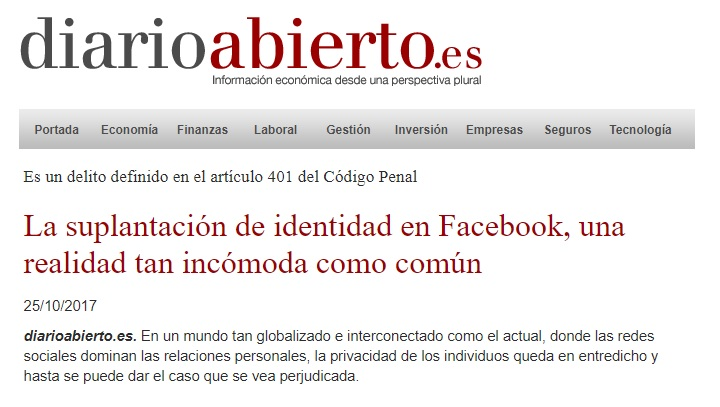 Delitos de suplantación de identidad en Facebook